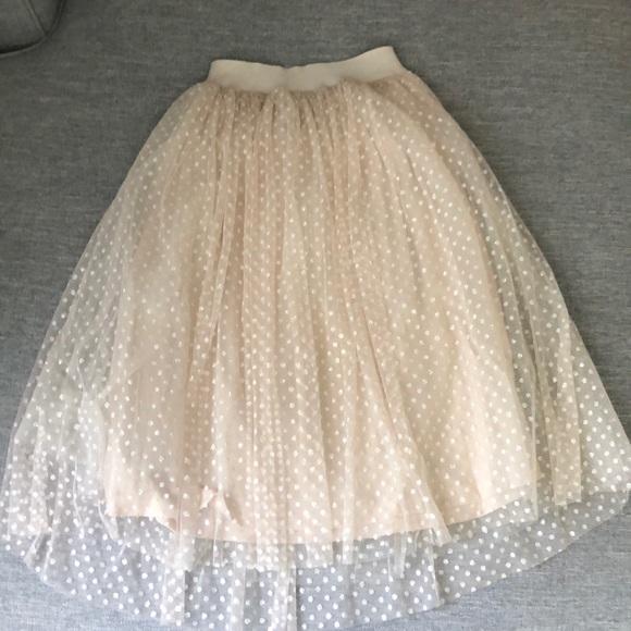 aeee8aadf Morning Lavender Skirts | Cream Glittered Polka Dot Tulle Midi Skirt ...